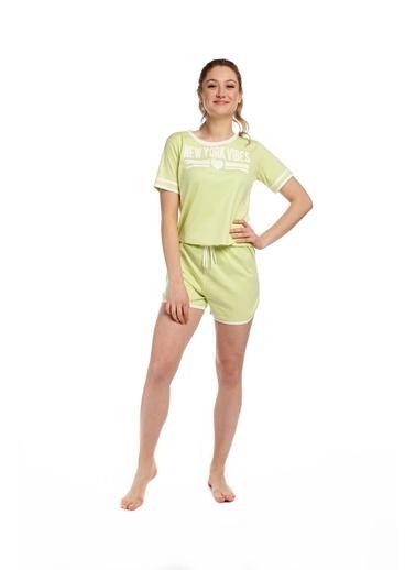 Pamuk & Pamuk Kadın Şortlu Yeşil Spor Eviçi Giyim Renkli